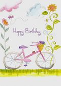 Birthday - Adult - Bicycle and Pretty Flowers